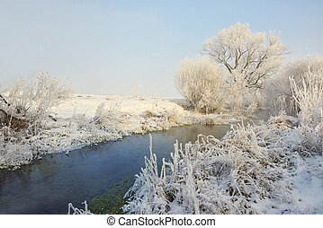 Frosty winter trees on river