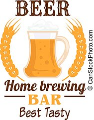 Frothy beer mug emblem with wheat ears