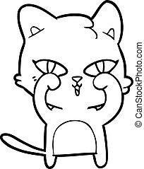 frottement, chat, yeux, dessin animé