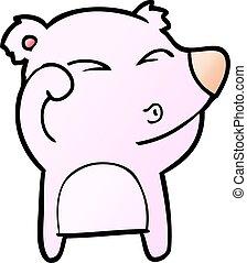 frottement, fatigué, yeux, ours, dessin animé