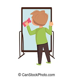 frottement, garçon, éponge, verre, peu, vecteur, miroir, ...