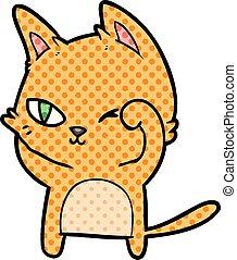 frottement, oeil, dessin animé, chat