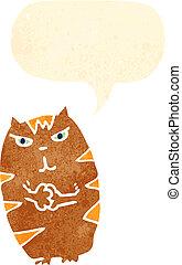 frottement, pattes, retro, dessin animé, chat
