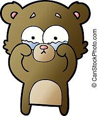 frottement, pleurer, yeux, dessin animé, ours