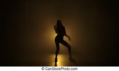 frousse, éléments, jazz, exécute, motion., silhouettes, lights., professionally, lent, fond, girl, danses