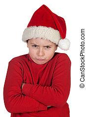 frowning, jongen, met, kerstmuts