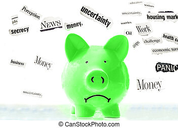 frowning pink piggy bank with bad economic news headlines