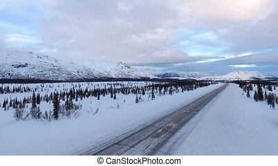 Frozen Alaska Highway Elevate Up Winter Freeze Denali Range...
