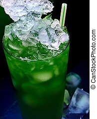 Frozen alcohol cocktail on black background.