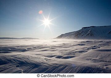 Frozen Arctic Landscape - A dramatic winter landscape from...