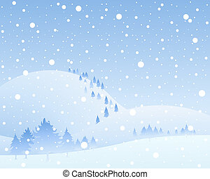 an illustration of a frozen landscape with snow covered hills and fir trees in a winter snow shower under a blue sky