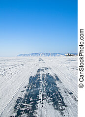 Frozen Baikal lake,Russia