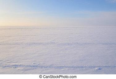 Frozen Baltic Sea at winter.