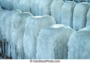 Frozen blocks of ice on the beach