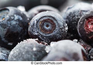 Frozen Blueberries. Macro. Closeup. Shallow depth of view.