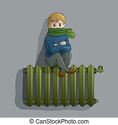 Frozen boy on an old radiator - Frozen young boy on an warm ...