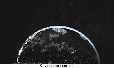 Frozen bubble, winter holidays background,