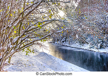 Frozen Canal in Birmingham - Frozen canal and snow covered...