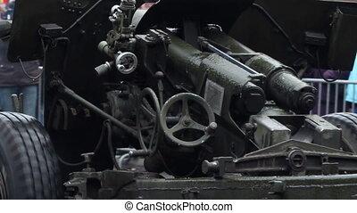 Frozen Cannon - Close-up shot of a infantry cannon, frozen...