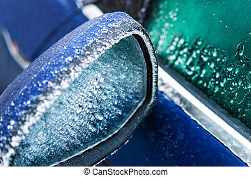 Frozen Car Mirror Covered by Frost