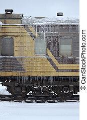 Frozen car of passenger train