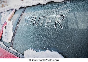 Frozen car window, car parked outside, winter transport...