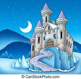 Frozen castle in winter landscape - color illustration.