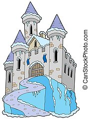 Frozen castle on white background - isolated illustration.