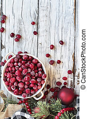Frozen Cranberries in a White Bowl