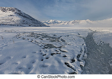 Frozen Deer Creek Reservoir in Utah