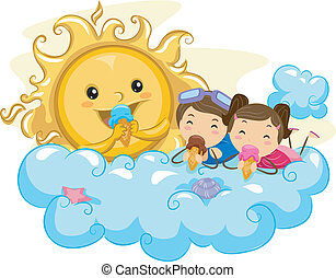 Frozen Delight - Illustration of Kids Eating Ice Cream with...
