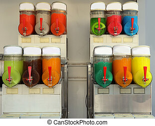 frozen dessert dispenser with sugary syrups with various flavors