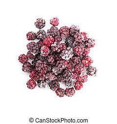 Frozen dewberries isolared on white background