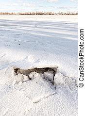 Frozen Dnieper River in Kiev, Ukraine, During Winter