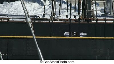 Frozen docks downtown Toronto