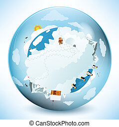 Vector illustration of frozen earth in the glass sphere