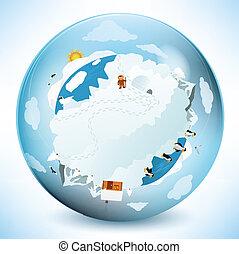 Frozen earth in the glass sphere