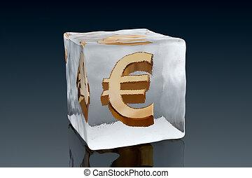 Frozen Euro - A golden Euro symbol frozen inside an ice cube...