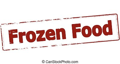 Rubber stamp with text frozen food inside, vector illustration