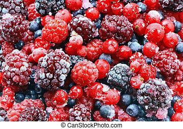 Frozen forest fruits. Bright studio shot