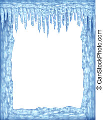 Frozen ice and icicles frame winter design element on a blank white background representing the cold arctic weather and low freezing temperatures resulting in hanging shiny transparent ice crystals.