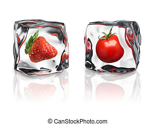 frozen fruits - strawberry and tomato were frozen inside ice...