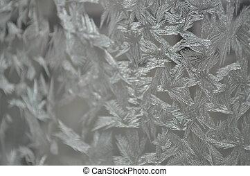 Frozen glass of a window