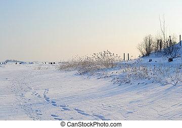 Frozen Gulf of Finland , sunny winter day.