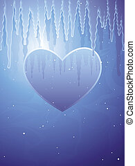 Frozen heart in a frigid background of icicles and snow