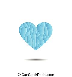 Frozen Heart with Shadow on White Background