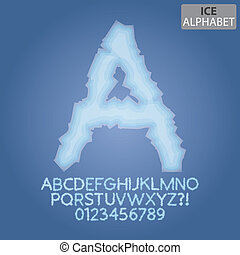 Frozen Ice Alphabet and Numbers Vector