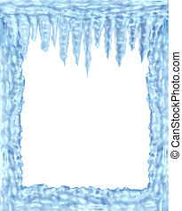 Frozen ice and icicles frame winter design element on a...