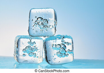 frozen ice cubes isolated
