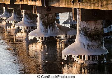 Frozen jetty on a river in winter